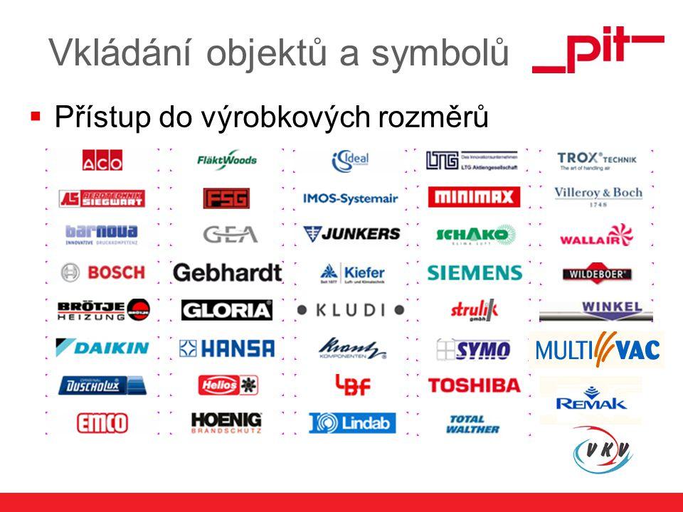 www.pit.de Vkládání objektů a symbolů  Přístup do výrobkových rozměrů