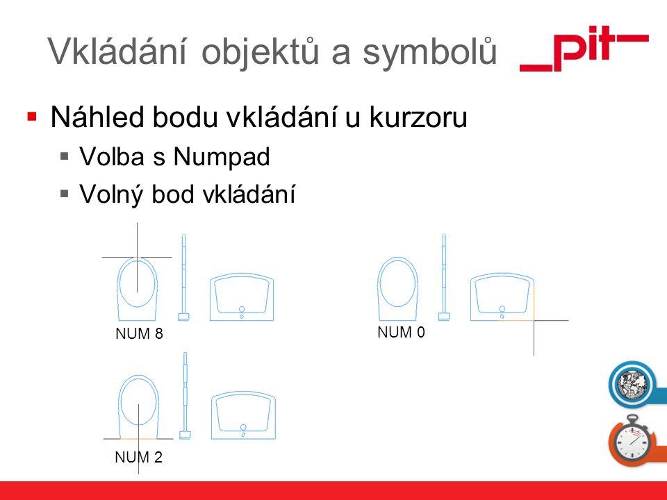 www.pit.de Vkládání objektů a symbolů  Náhled bodu vkládání u kurzoru  Volba s Numpad  Volný bod vkládání NUM 8 NUM 2 NUM 0