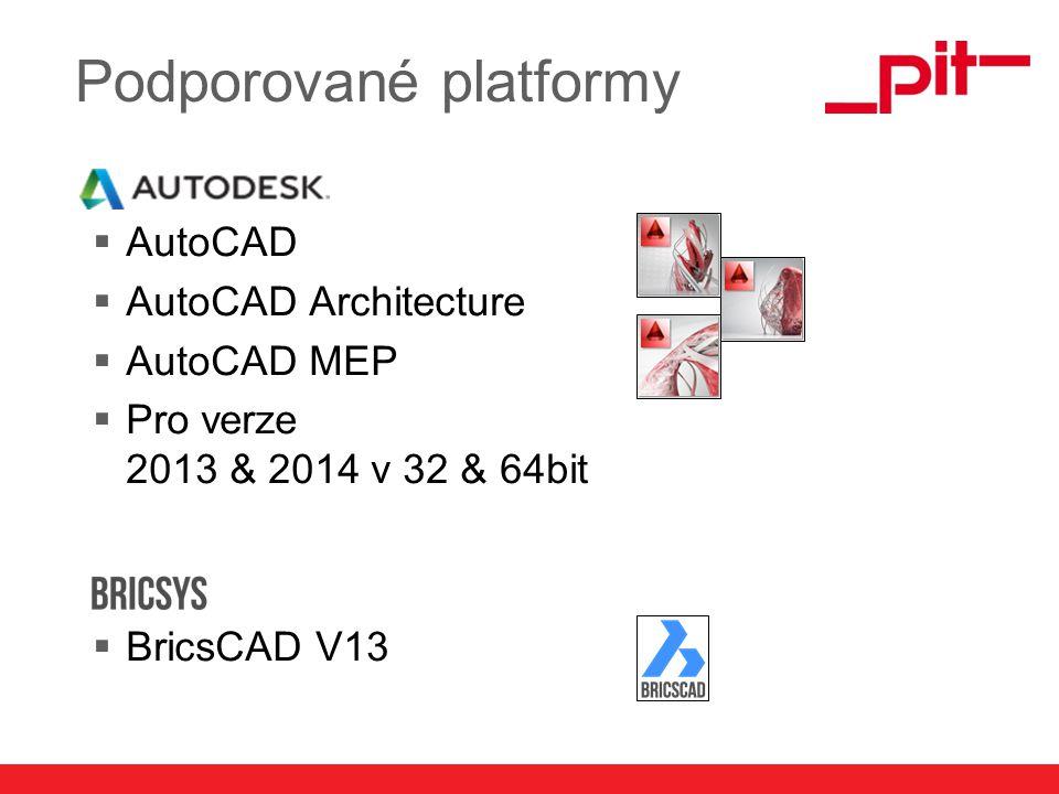 www.pit.de Podporované platformy  AutoCAD  AutoCAD Architecture  AutoCAD MEP  Pro verze 2013 & 2014 v 32 & 64bit  BricsCAD V13