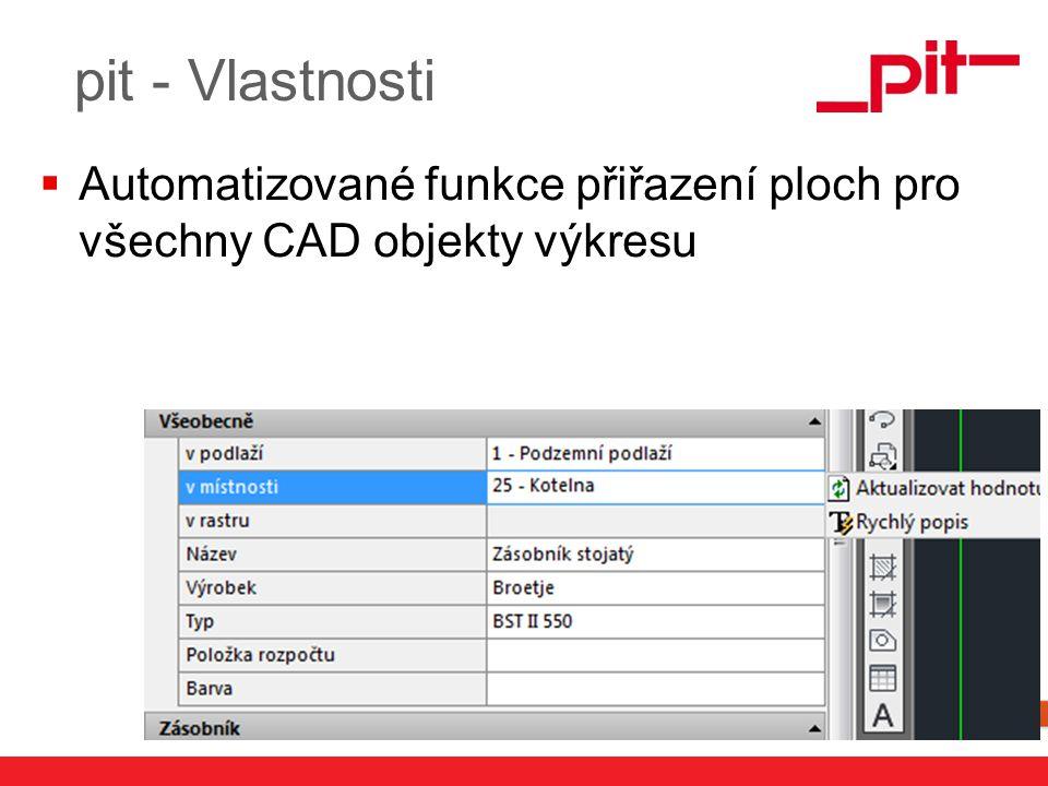 www.pit.de pit - Vlastnosti  Automatizované funkce přiřazení ploch pro všechny CAD objekty výkresu