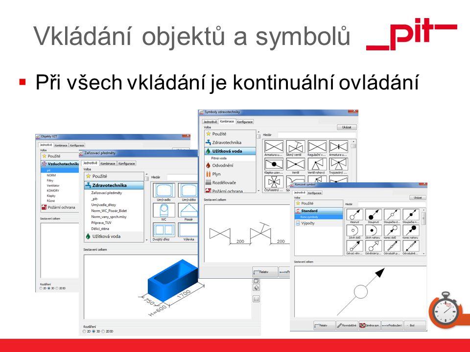 www.pit.de Vkládání objektů a symbolů  Při všech vkládání je kontinuální ovládání