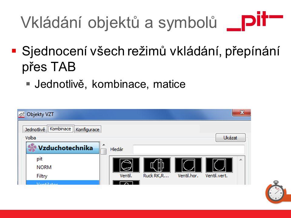 www.pit.de Vkládání objektů a symbolů  Sjednocení všech režimů vkládání, přepínání přes TAB  Jednotlivě, kombinace, matice