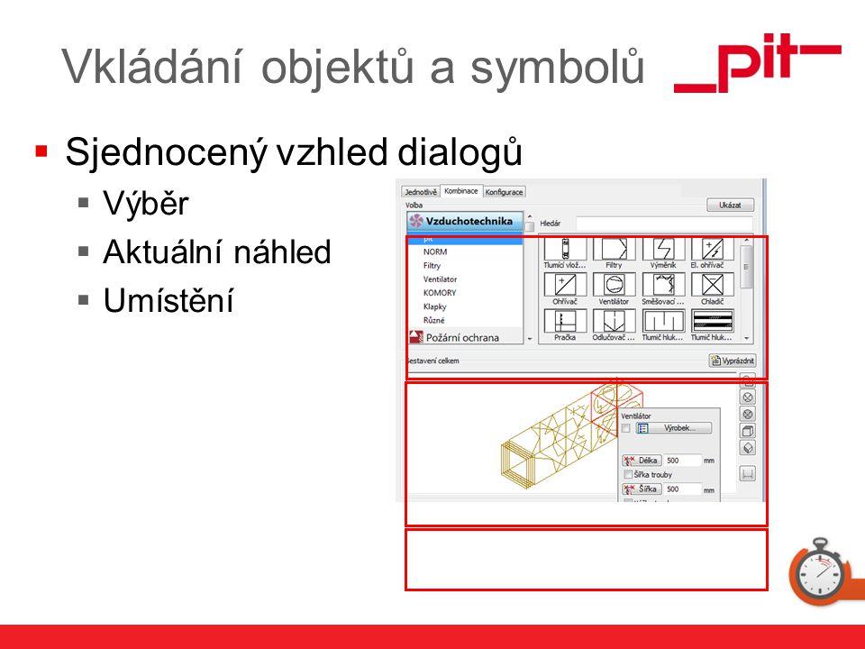 www.pit.de Vkládání objektů a symbolů  Sjednocený vzhled dialogů  Výběr  Aktuální náhled  Umístění