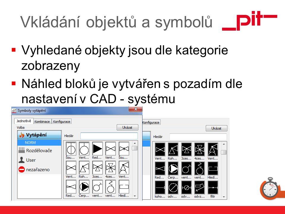 www.pit.de Vkládání objektů a symbolů  Vyhledané objekty jsou dle kategorie zobrazeny  Náhled bloků je vytvářen s pozadím dle nastavení v CAD - syst