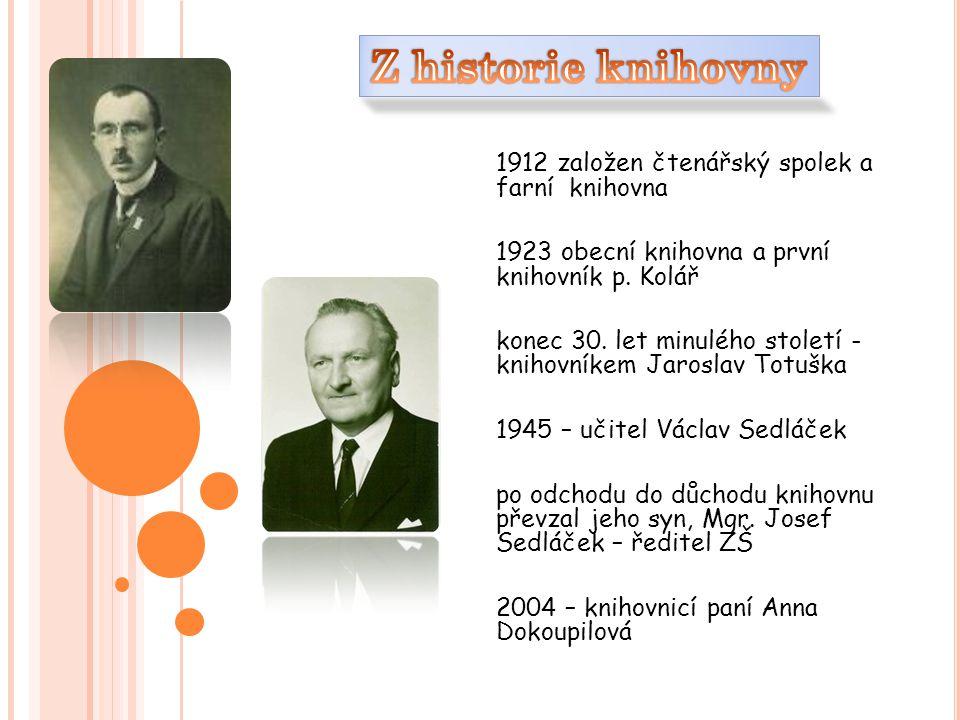 1912 založen čtenářský spolek a farní knihovna 1923 obecní knihovna a první knihovník p.