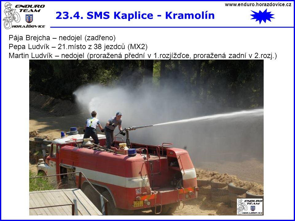 www.enduro.horazdovice.cz 23.4. SMS Kaplice - Kramolín Pája Brejcha – nedojel (zadřeno) Pepa Ludvík – 21.místo z 38 jezdců (MX2) Martin Ludvík – nedoj
