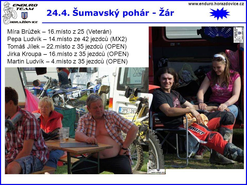 www.enduro.horazdovice.cz 24.4. Šumavský pohár - Žár Míra Brůžek – 16.místo z 25 (Veterán) Pepa Ludvík – 14.místo ze 42 jezdců (MX2) Tomáš Jílek – 22.