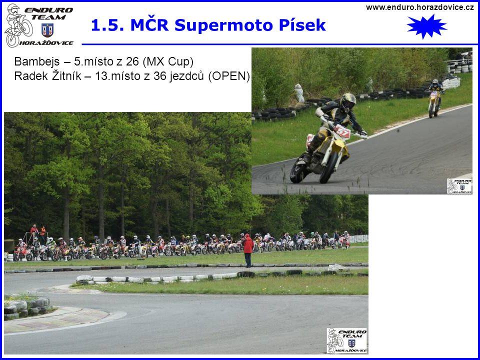 www.enduro.horazdovice.cz 1.5. MČR Supermoto Písek Bambejs – 5.místo z 26 (MX Cup) Radek Žitník – 13.místo z 36 jezdců (OPEN)