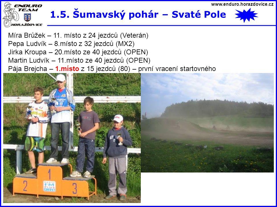 www.enduro.horazdovice.cz 1.5. Šumavský pohár – Svaté Pole Míra Brůžek – 11. místo z 24 jezdců (Veterán) Pepa Ludvík – 8.místo z 32 jezdců (MX2) Jirka
