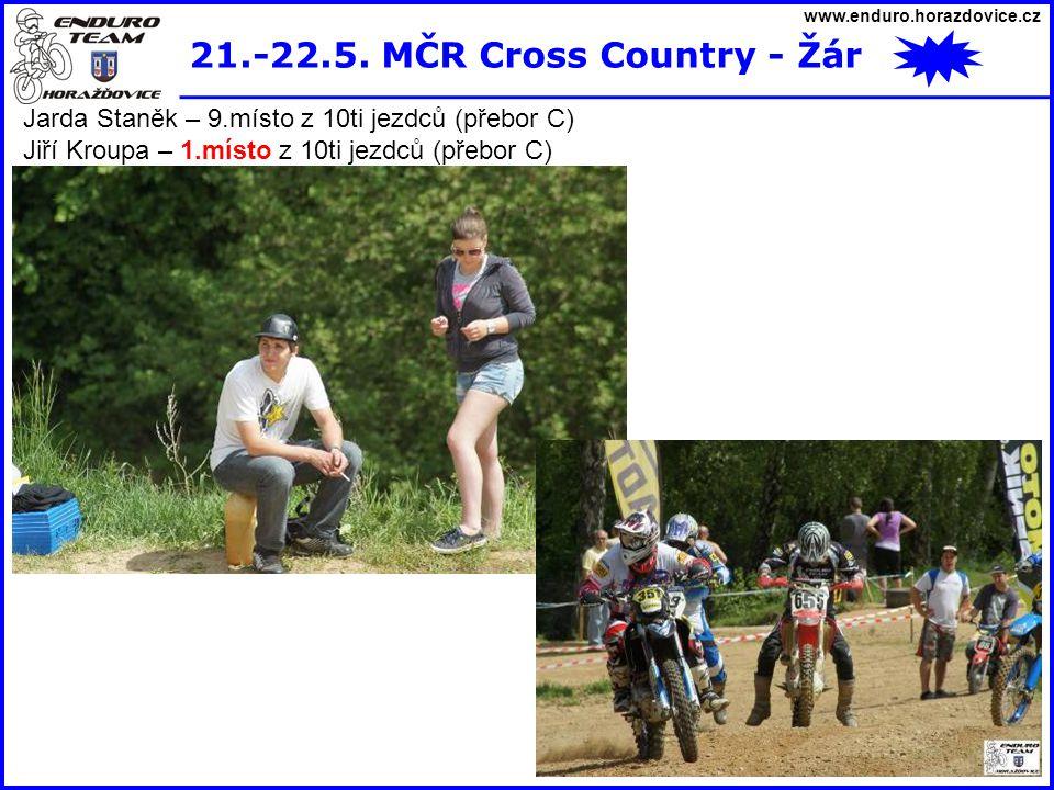 www.enduro.horazdovice.cz 21.-22.5. MČR Cross Country - Žár Jarda Staněk – 9.místo z 10ti jezdců (přebor C) Jiří Kroupa – 1.místo z 10ti jezdců (přebo