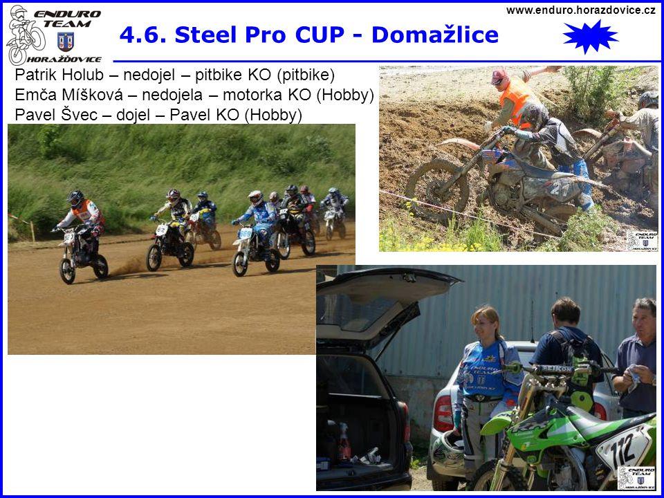 www.enduro.horazdovice.cz 4.6. Steel Pro CUP - Domažlice Patrik Holub – nedojel – pitbike KO (pitbike) Emča Míšková – nedojela – motorka KO (Hobby) Pa