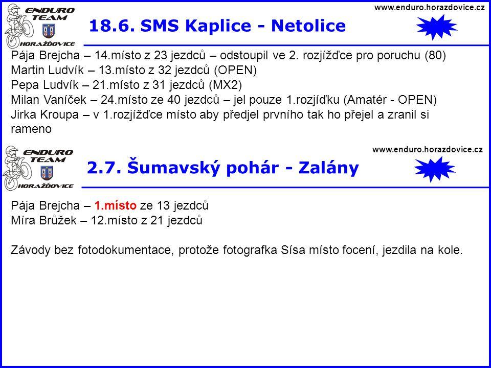 www.enduro.horazdovice.cz 18.6. SMS Kaplice - Netolice Pája Brejcha – 14.místo z 23 jezdců – odstoupil ve 2. rozjížďce pro poruchu (80) Martin Ludvík