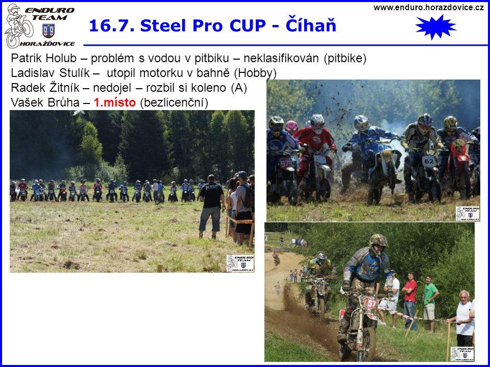 www.enduro.horazdovice.cz 16.7. Steel Pro CUP - Číhaň Patrik Holub – problém s vodou v pitbiku – neklasifikován (pitbike) Ladislav Stulík – utopil mot
