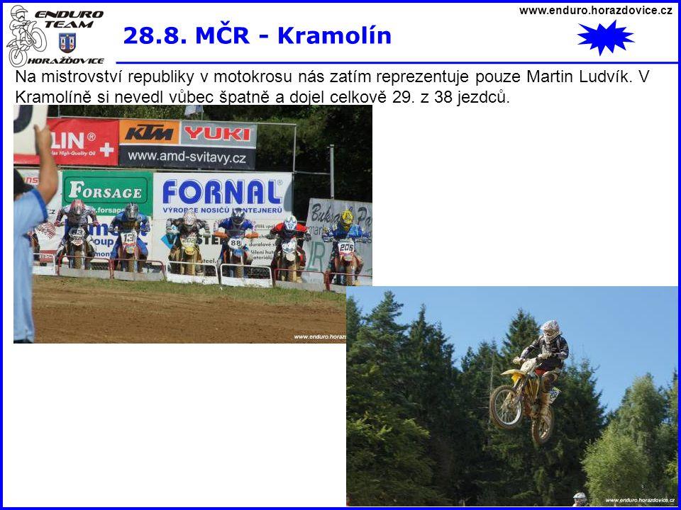 www.enduro.horazdovice.cz 28.8. MČR - Kramolín Na mistrovství republiky v motokrosu nás zatím reprezentuje pouze Martin Ludvík. V Kramolíně si nevedl