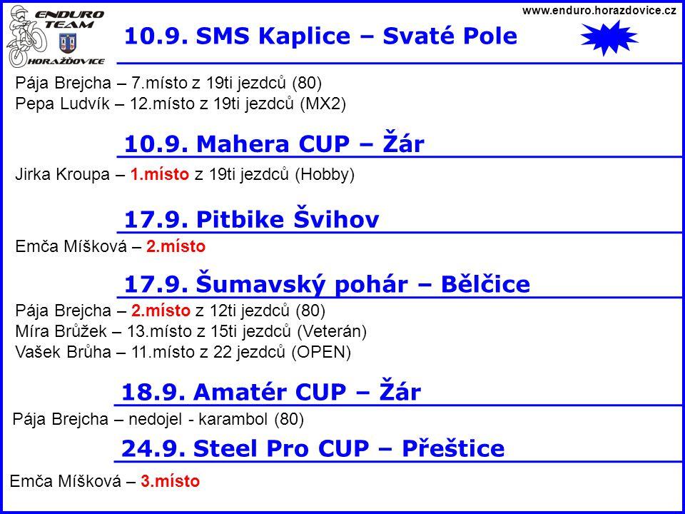 www.enduro.horazdovice.cz 10.9. SMS Kaplice – Svaté Pole Pája Brejcha – 7.místo z 19ti jezdců (80) Pepa Ludvík – 12.místo z 19ti jezdců (MX2) 10.9. Ma