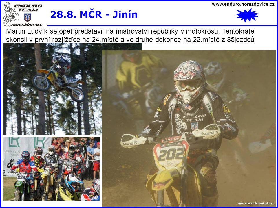 www.enduro.horazdovice.cz 28.8. MČR - Jinín Martin Ludvík se opět představil na mistrovství republiky v motokrosu. Tentokráte skončil v první rozjížďc