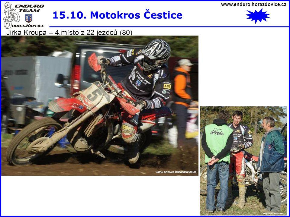 www.enduro.horazdovice.cz 15.10. Motokros Čestice Jirka Kroupa – 4.místo z 22 jezdců (80)