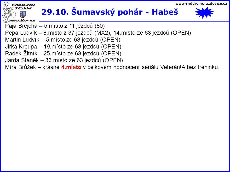 www.enduro.horazdovice.cz 29.10. Šumavský pohár - Habeš Pája Brejcha – 5.místo z 11 jezdců (80) Pepa Ludvík – 8.místo z 37 jezdců (MX2), 14.místo ze 6