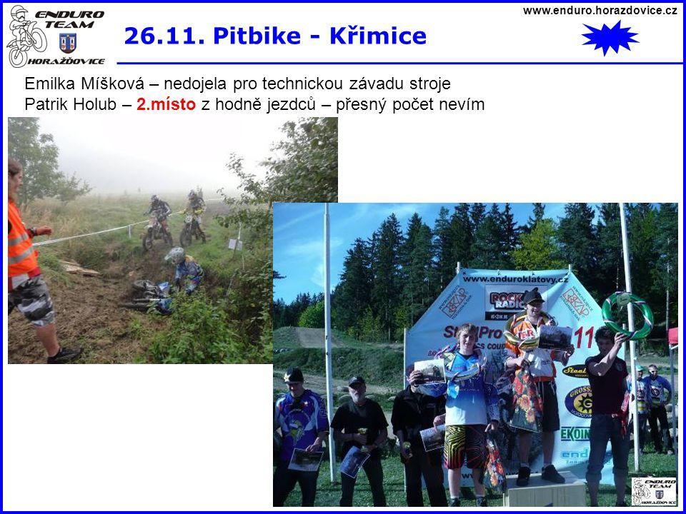 www.enduro.horazdovice.cz 26.11. Pitbike - Křimice Emilka Míšková – nedojela pro technickou závadu stroje Patrik Holub – 2.místo z hodně jezdců – přes