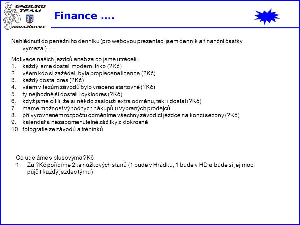 Finance …. Nahlédnutí do peněžního denníku (pro webovou prezentaci jsem denník a finanční částky vymazal)….. Motivace našich jezdců aneb za co jsme ut