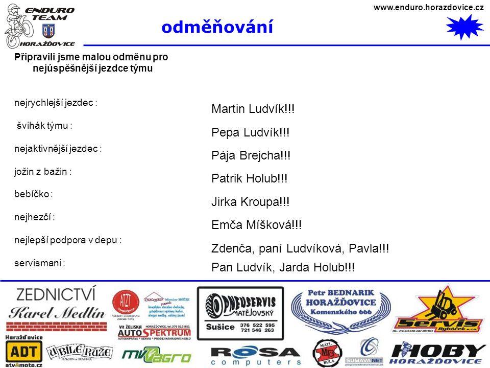 www.enduro.horazdovice.cz odměňování Připravili jsme malou odměnu pro nejúspěšnější jezdce týmu nejrychlejší jezdec : švihák týmu : nejaktivnější jezd