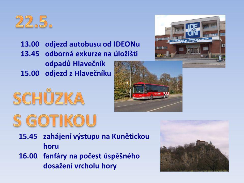 13.00odjezd autobusu od IDEONu 13.45odborná exkurze na úložišti odpadů Hlavečník 15.00odjezd z Hlavečníku 15.45zahájení výstupu na Kunětickou horu 16.