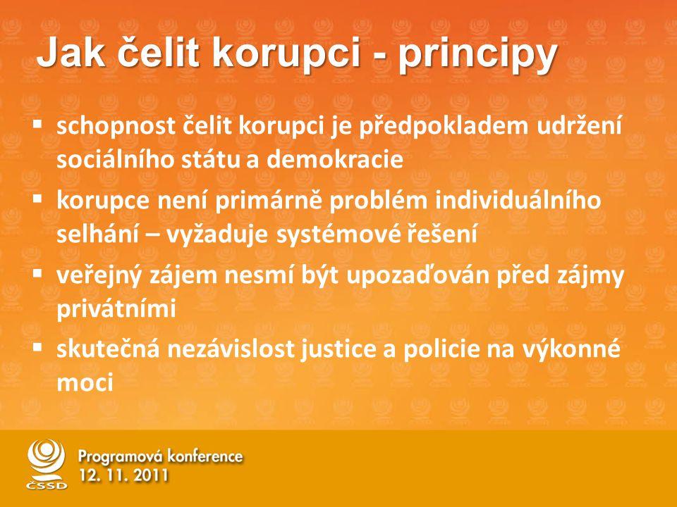Jak čelit korupci - principy  schopnost čelit korupci je předpokladem udržení sociálního státu a demokracie  korupce není primárně problém individuálního selhání – vyžaduje systémové řešení  veřejný zájem nesmí být upozaďován před zájmy privátními  skutečná nezávislost justice a policie na výkonné moci