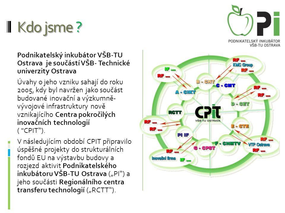 Kdo jsme ? Podnikatelský inkubátor VŠB-TU Ostrava je součástí VŠB- Technické univerzity Ostrava Úvahy o jeho vzniku sahají do roku 2005, kdy byl navrž