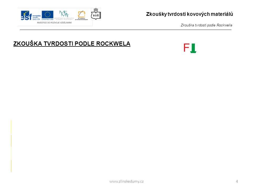 www.zlinskedumy.cz ZKOUŠKA TVRDOSTI PODLE ROCKWELA - je zkouškou vnikací - do zkoumaného materiálu je zatlačováno tvrdší zkušební těleso přesného tvar