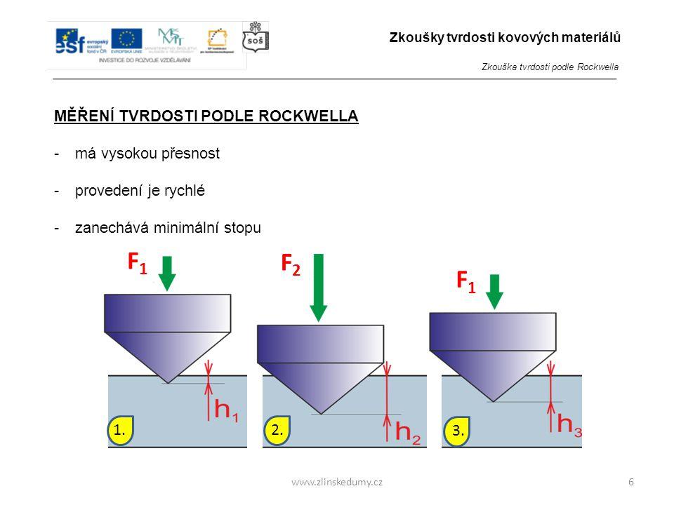 F2F2 F1F1 F1F1 1.2. 3. www.zlinskedumy.cz MĚŘENÍ TVRDOSTI PODLE ROCKWELLA -má vysokou přesnost -provedení je rychlé -zanechává minimální stopu 6 Zkouš
