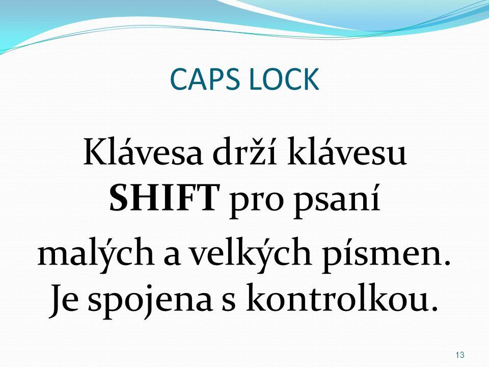 CAPS LOCK Klávesa drží klávesu SHIFT pro psaní malých a velkých písmen. Je spojena s kontrolkou. 13