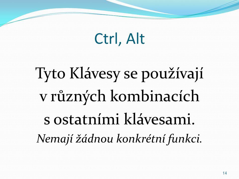Ctrl, Alt Tyto Klávesy se používají v různých kombinacích s ostatními klávesami.