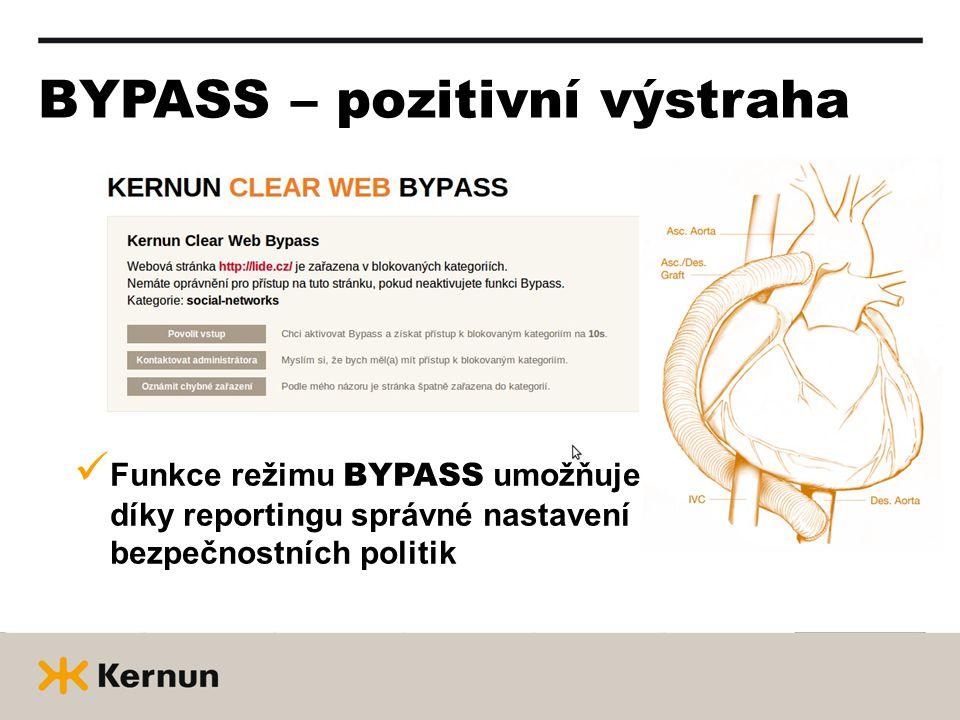 BYPASS – pozitivní výstraha  Funkce režimu BYPASS umožňuje díky reportingu správné nastavení bezpečnostních politik
