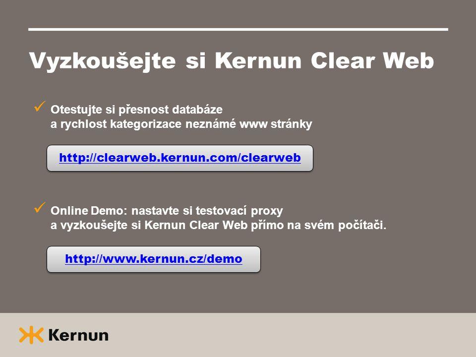 Vyzkoušejte si Kernun Clear Web  Otestujte si přesnost databáze a rychlost kategorizace neznámé www stránky http://clearweb.kernun.com/clearweb  Onl