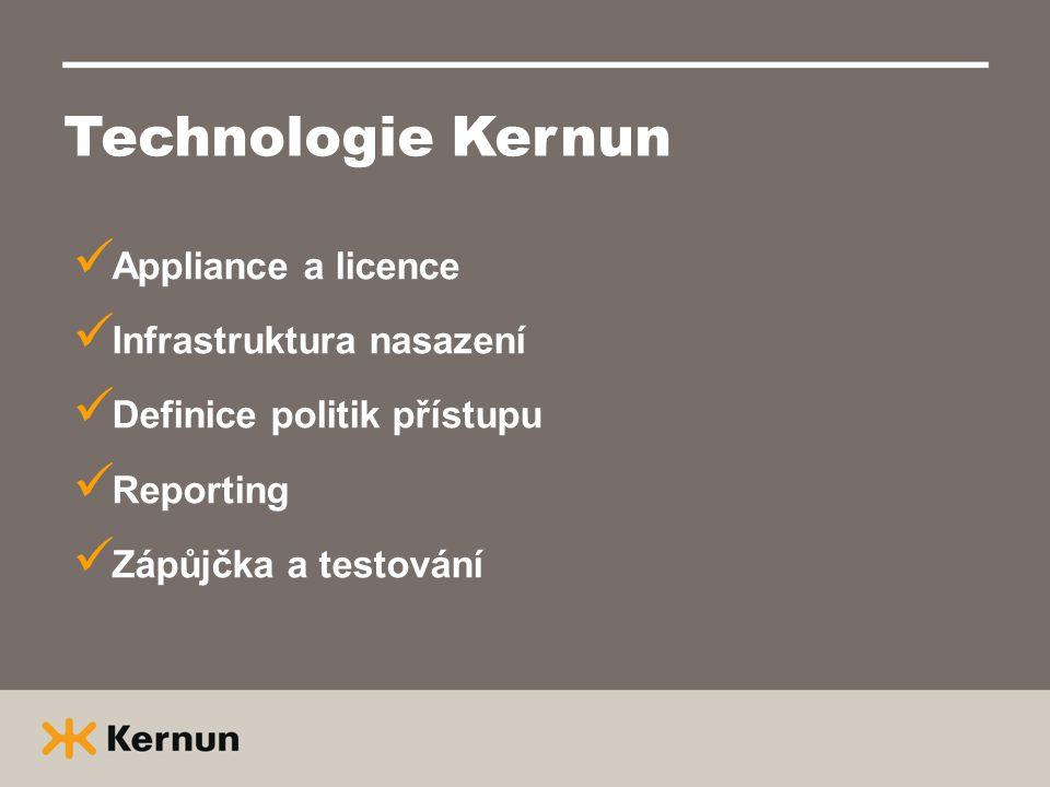 Technologie Kernun  Appliance a licence  Infrastruktura nasazení  Definice politik přístupu  Reporting  Zápůjčka a testování