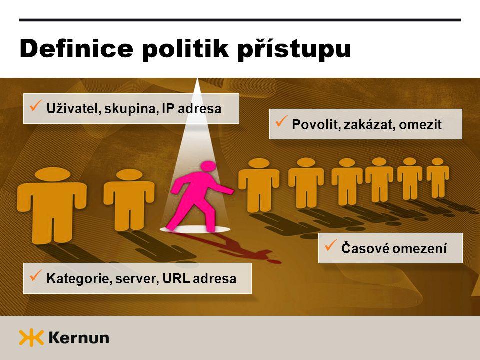 Definice politik přístupu  Uživatel, skupina, IP adresa  Povolit, zakázat, omezit  Kategorie, server, URL adresa  Časové omezení