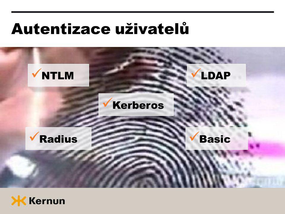 Autentizace uživatelů  Kerberos  NTLM  Radius  Basic  LDAP