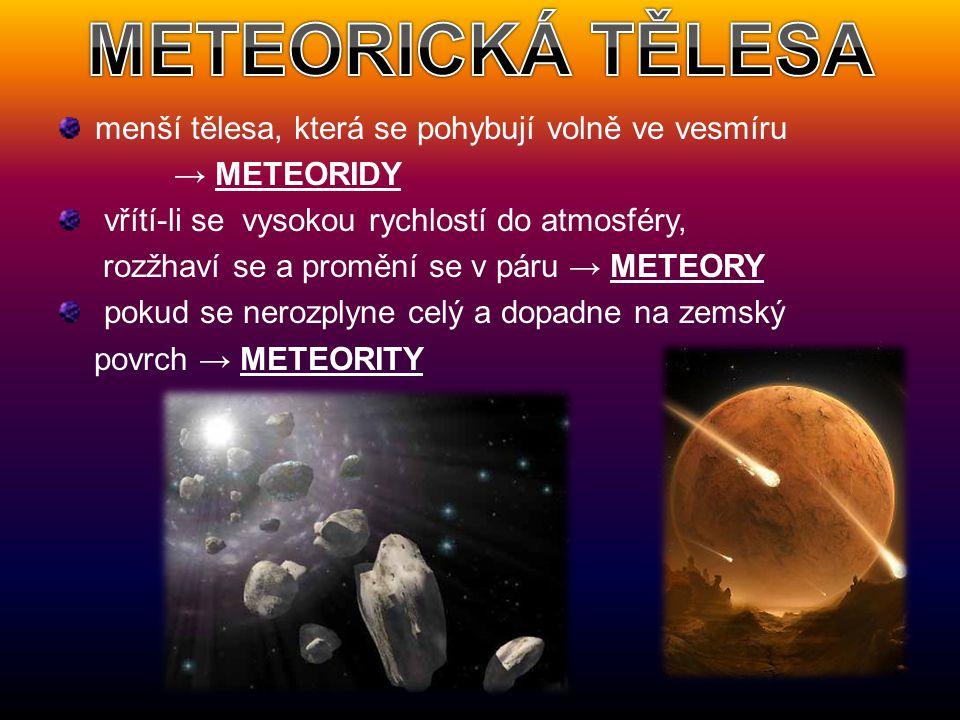 menší tělesa, která se pohybují volně ve vesmíru → METEORIDY vřítí-li se vysokou rychlostí do atmosféry, rozžhaví se a promění se v páru → METEORY pok