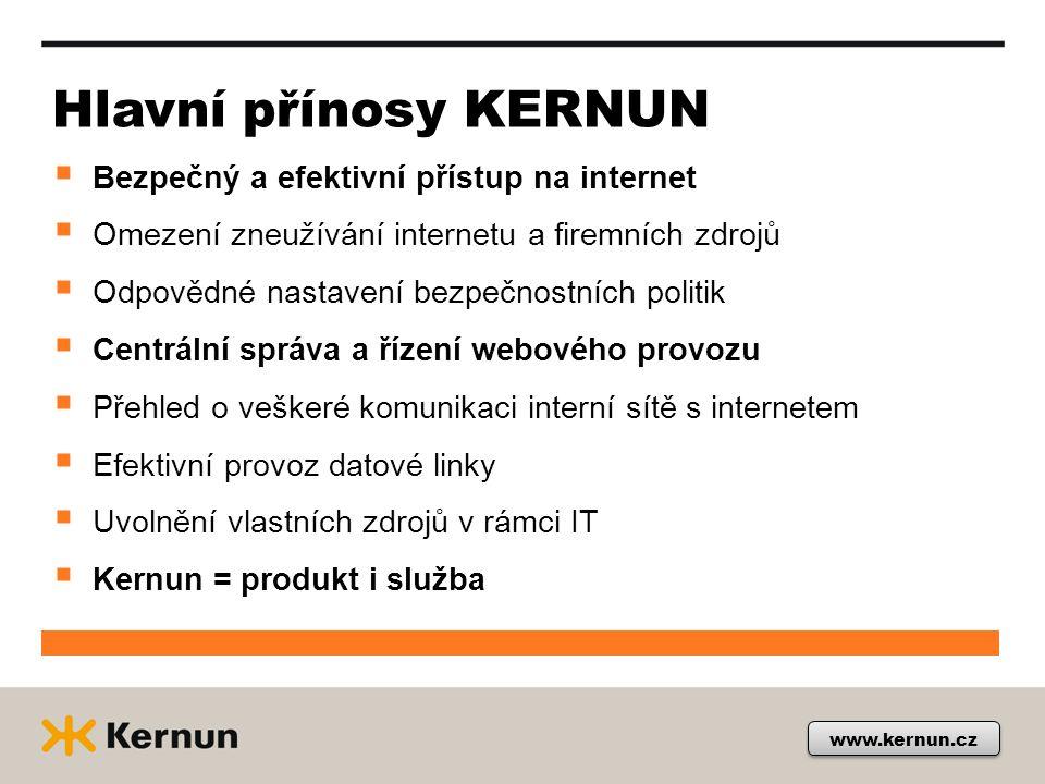 Hlavní přínosy KERNUN  Bezpečný a efektivní přístup na internet  Omezení zneužívání internetu a firemních zdrojů  Odpovědné nastavení bezpečnostníc