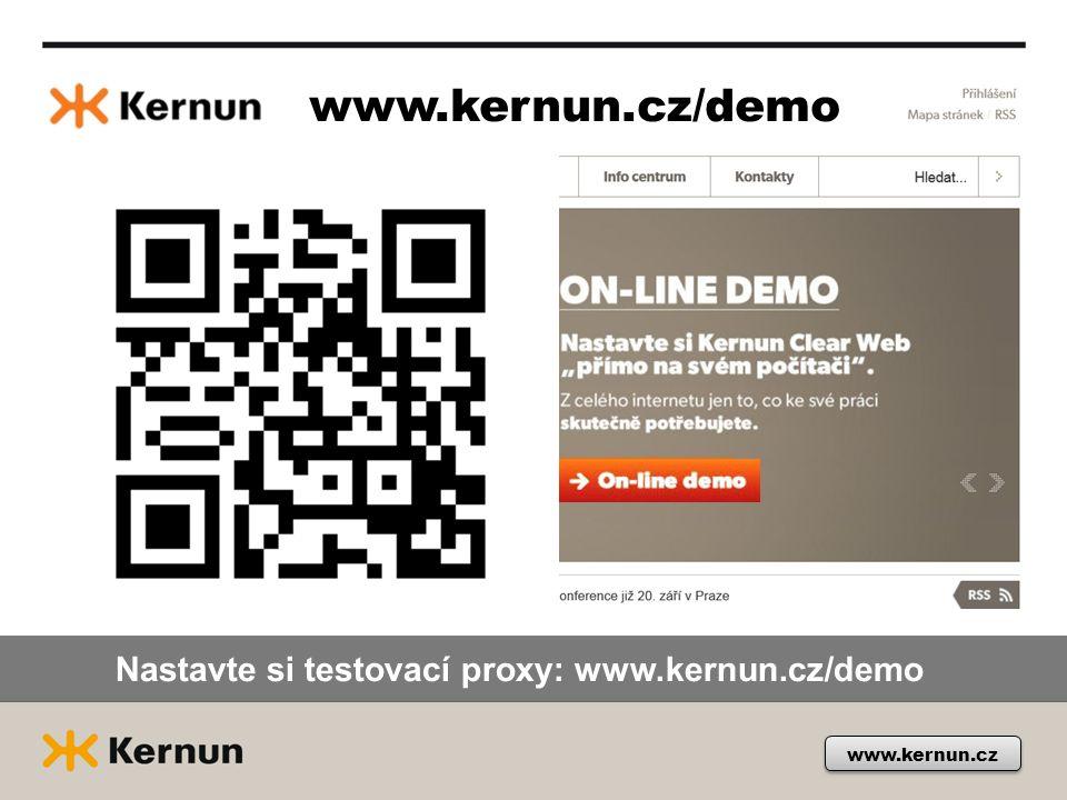 www.kernun.cz/demo Nastavte si testovací proxy: www.kernun.cz/demo
