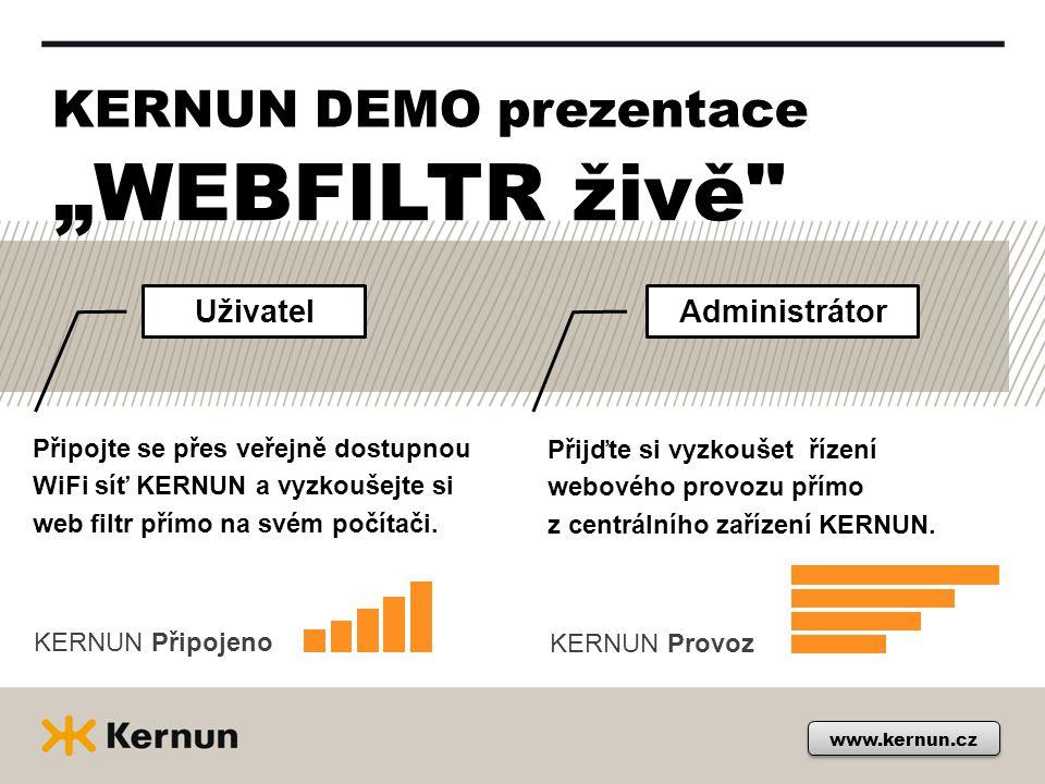 "KERNUN DEMO prezentace Uživatel www.kernun.cz ""WEBFILTR živě"