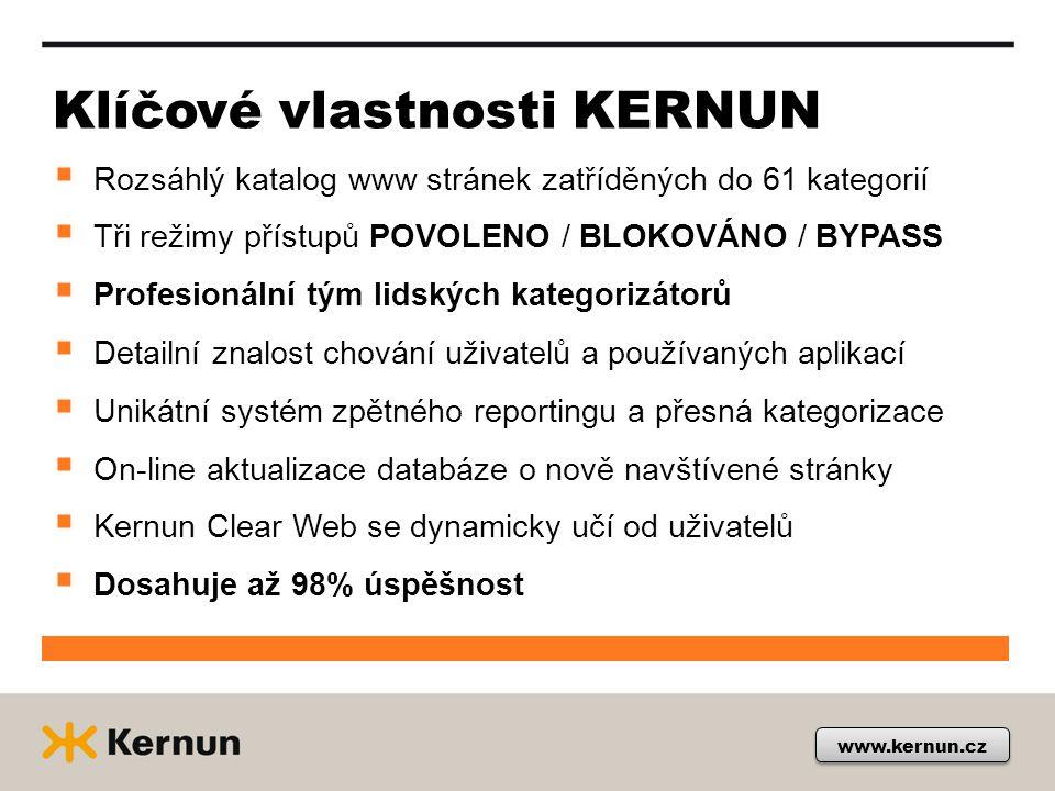 Klíčové vlastnosti KERNUN  Rozsáhlý katalog www stránek zatříděných do 61 kategorií  Tři režimy přístupů POVOLENO / BLOKOVÁNO / BYPASS  Profesionál