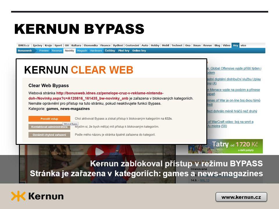 KERNUN BYPASS Kernun zablokoval přístup v režimu BYPASS Stránka je zařazena v kategoriích: games a news-magazines www.kernun.cz