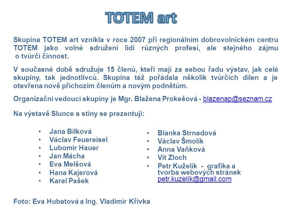 Skupina TOTEM art vznikla v roce 2007 při regionálním dobrovolnickém centru TOTEM jako volné sdružení lidí různých profesí, ale stejného zájmu o tvůrč