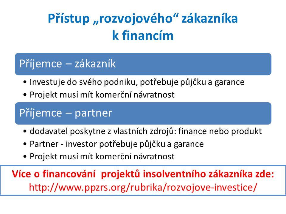 """Přístup """"rozvojového"""" zákazníka k financím Příjemce – zákazník •Investuje do svého podniku, potřebuje půjčku a garance •Projekt musí mít komerční návr"""