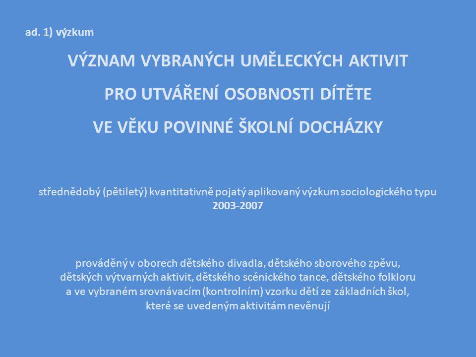 VSTUPY A PŘEDPOKLADY Výzkumný vzorek = 1900 dětí tedy 5% z celkového počtu 38.500 dětí, které se v České republice aktivně a dlouhodobě věnovaly zájmové umělecké činnosti v dětských skupinách/souborech.