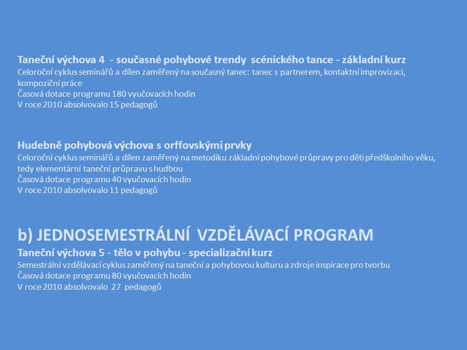 Taneční výchova 4 - současné pohybové trendy scénického tance - základní kurz Celoroční cyklus seminářů a dílen zaměřený na současný tanec: tanec s partnerem, kontaktní improvizaci, kompoziční práce Časová dotace programu 180 vyučovacích hodin V roce 2010 absolvovalo 15 pedagogů Hudebně pohybová výchova s orffovskými prvky Celoroční cyklus seminářů a dílen zaměřený na metodiku základní pohybové průpravy pro děti předškolního věku, tedy elementární taneční průpravu s hudbou Časová dotace programu 40 vyučovacích hodin V roce 2010 absolvovalo 11 pedagogů b) JEDNOSEMESTRÁLNÍ VZDĚLÁVACÍ PROGRAM Taneční výchova 5 - tělo v pohybu - specializační kurz Semestrální vzdělávací cyklus zaměřený na taneční a pohybovou kulturu a zdroje inspirace pro tvorbu Časová dotace programu 80 vyučovacích hodin V roce 2010 absolvovalo 27 pedagogů