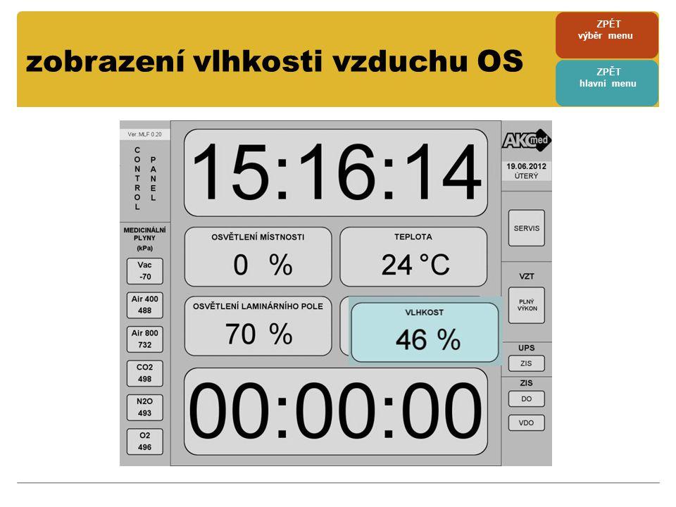 zobrazení vlhkosti vzduchu OS ZPÉT výběr menu ZPĚT hlavní menu