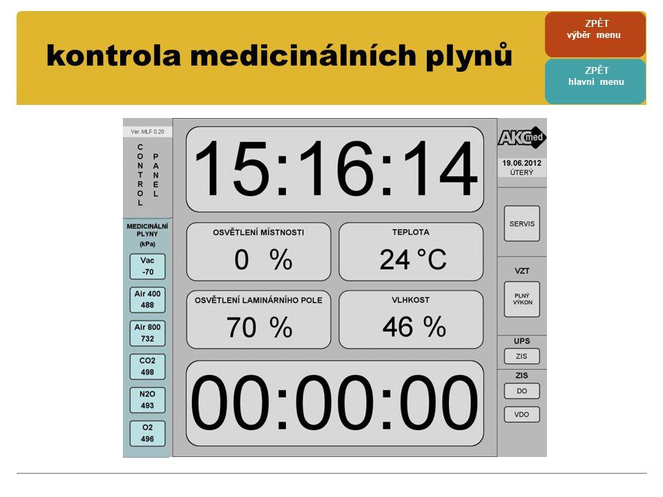 kontrola medicinálních plynů ZPÉT výběr menu ZPĚT hlavní menu