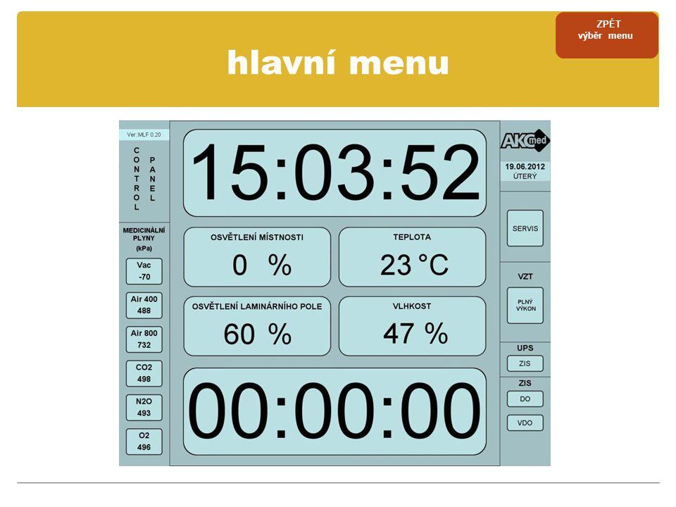 zobrazení historie alarmů ZPÉT výběr menu ZPĚT servisní menu